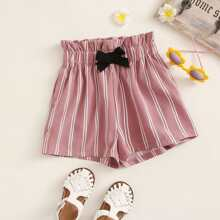 Girls Knotted Paperbag Waist Striped Shorts