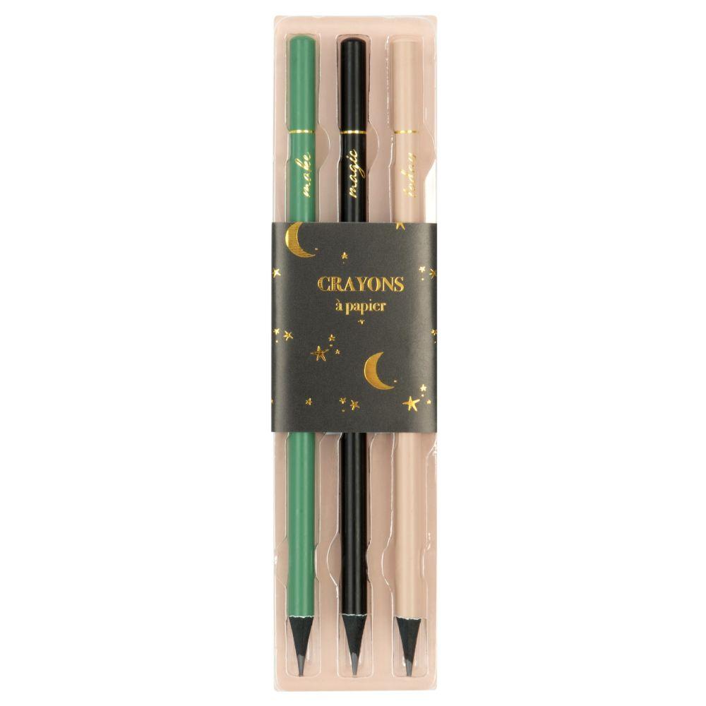 Buntstifte aus Pappelholz, mehrfarbig (x3)