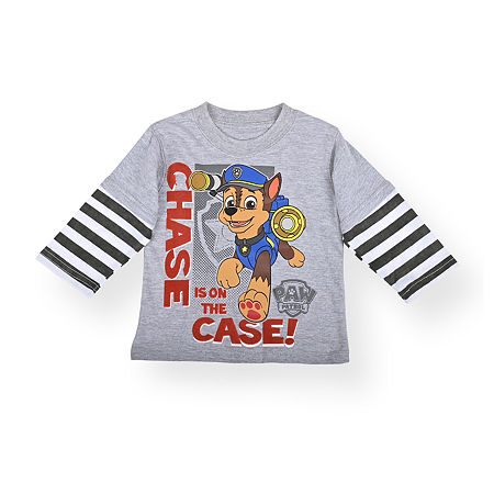 Nickelodeon Baby Boys Crew Neck Paw Patrol Long Sleeve Graphic T-Shirt, 24 Months , Gray