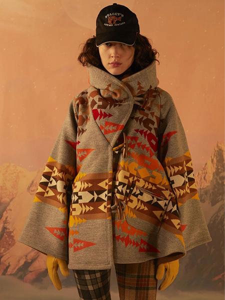 Milanoo Woman Coat Printed High Collar Casual Pockets Irregular Light Gray Wrap Winter Coat