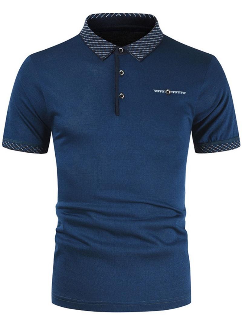 Ericdress Polo Neck Casual Patchwork Polo Shirt