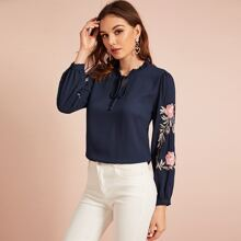 Frill Trim Tie Neck Embroidered Botanical Top