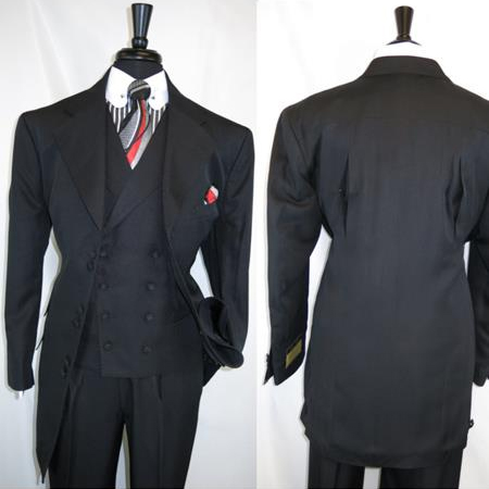 Men's Black Wide Notch Lapel 6 Paired Buttons Matching Vested Suit