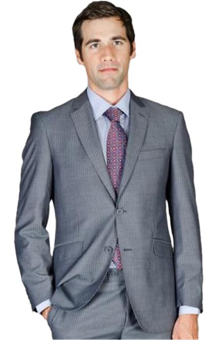 Mens Slim Fit Grey Stripe Wool and Silk Blend Suit