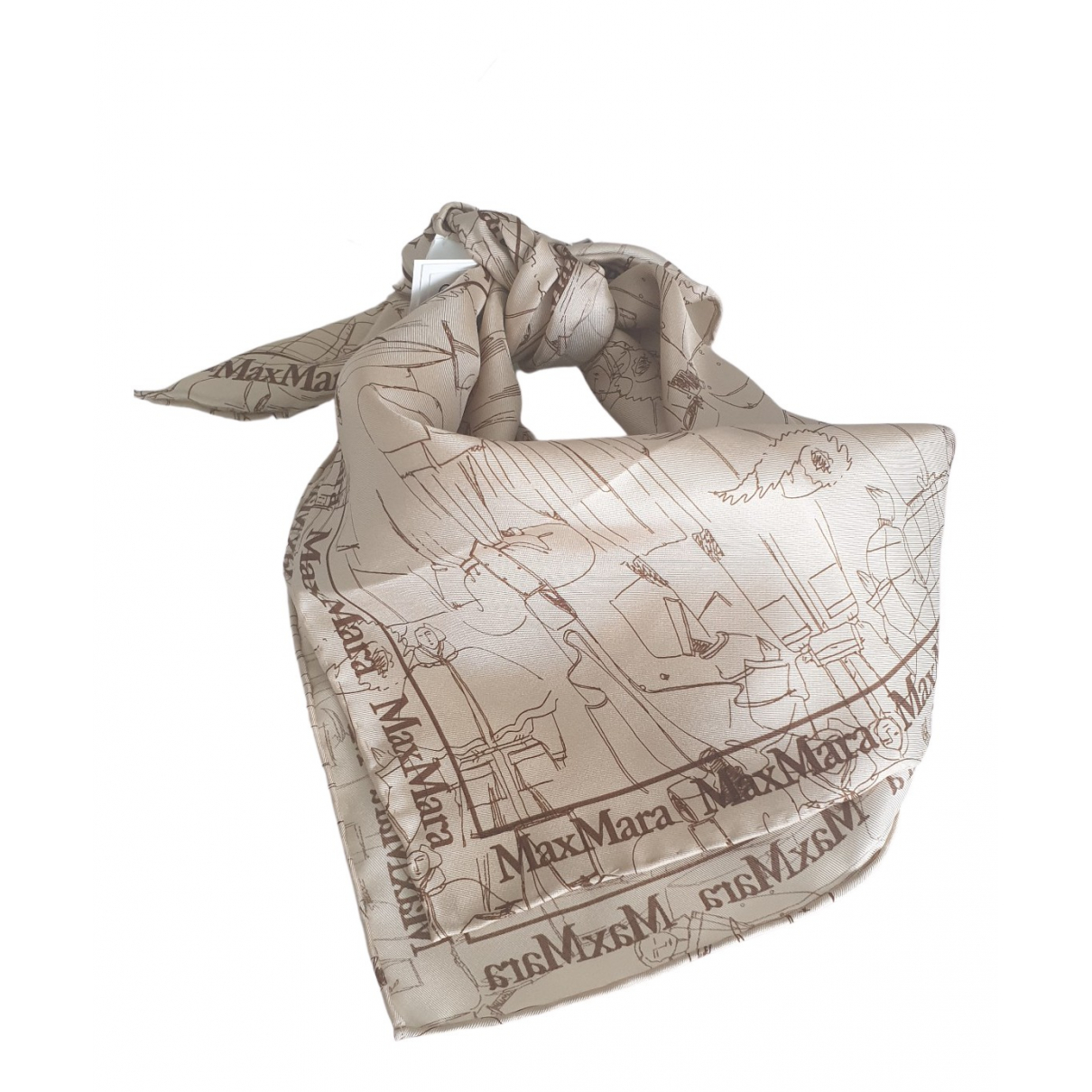 Max Mara - Foulard   pour femme en soie - beige