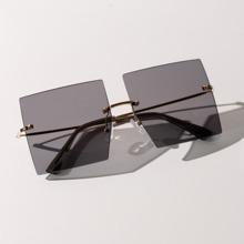 Square Rimless Flat Lens Sunglasses