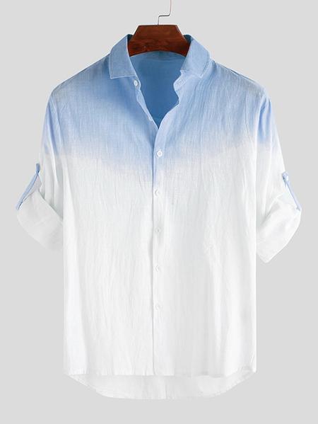 Yoins INCERUN Men Cotton Ombre Casual Long Sleeve Shirt