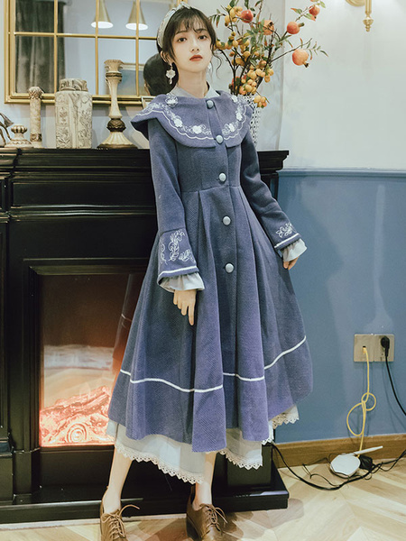 Milanoo Classic Lolita Coats Blue Embroidered Polyester Long Sleeve Turn Collar Overcoat Winter Lolita Outwears