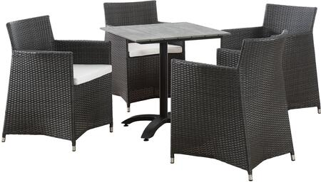 Junction Collection EEI-1760-BRN-WHI-SET 5-Piece Outdoor Patio Dining Set with Dining Table and Four Armchairs in Brown and