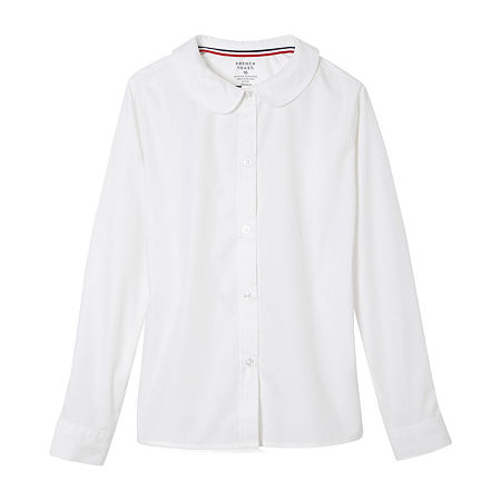 French Toast Little & Big Girls Long Sleeve Button-Down Shirt, 20.5 Plus , White