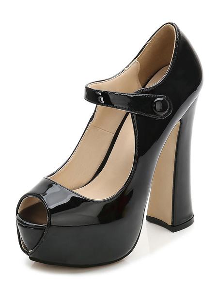 Milanoo Black Sexy Shoes Peep Toe Platform High Heel Mary Jane Shoes