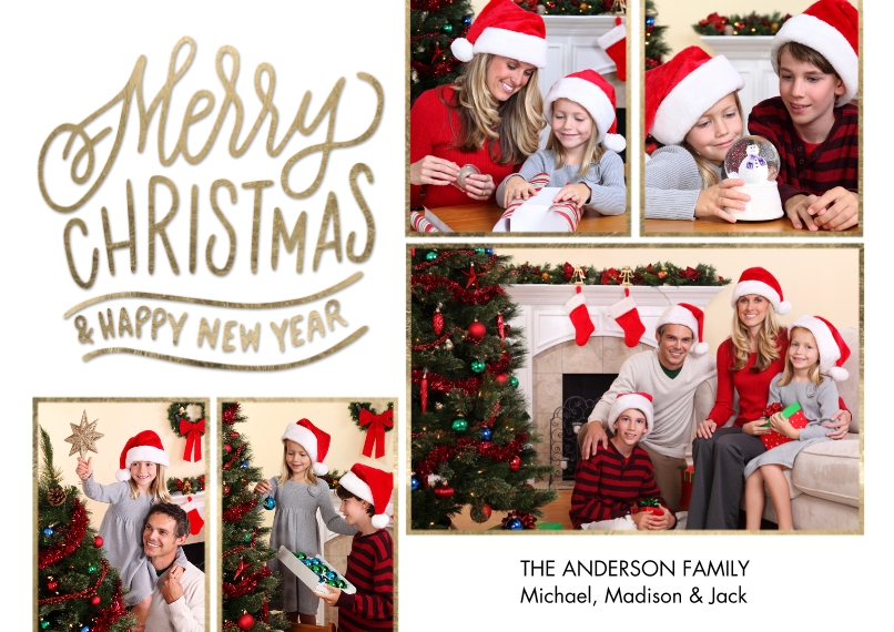 Christmas Photo Cards Flat Glossy Photo Paper Cards with Envelopes, 5x7, Card & Stationery -Christmas Gold Borders