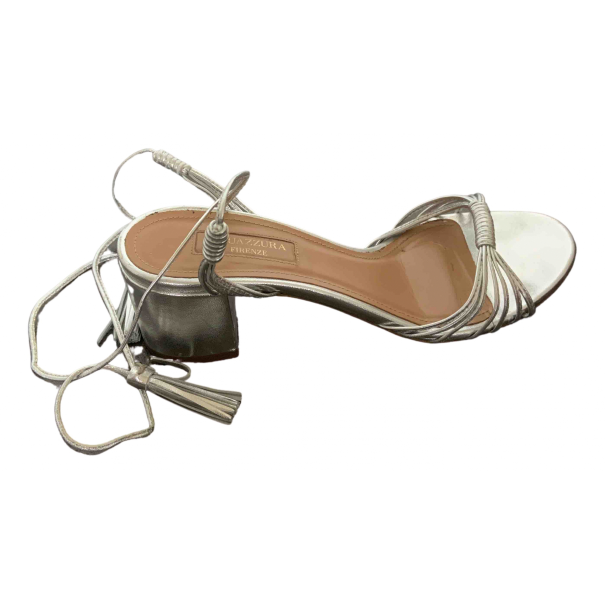 Aquazzura Beverly Hills Silver Leather Sandals for Women 37.5 EU