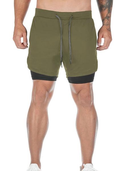 Milanoo Pantalones cortos de entrenamiento para hombres 2 en 1 Pantalones cortos deportivos de entrenamiento de gimnasia livianos con bolsillos