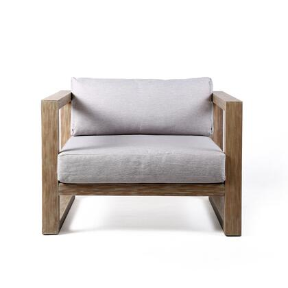 LCPRCHLALT Paradise Outdoor Patio Lounge Chair In Eucalyptus Wood With Teak Finish And Light Gray