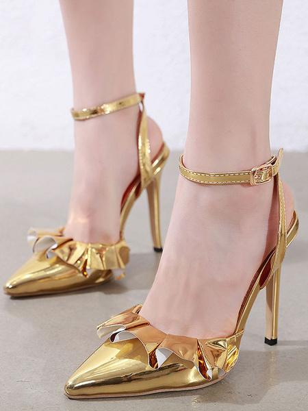 Milanoo Women's High Heels Pointed Toe Stiletto Heel Gold Pumps