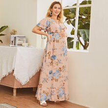 Maternity Floral Print Surplice Maxi Dress