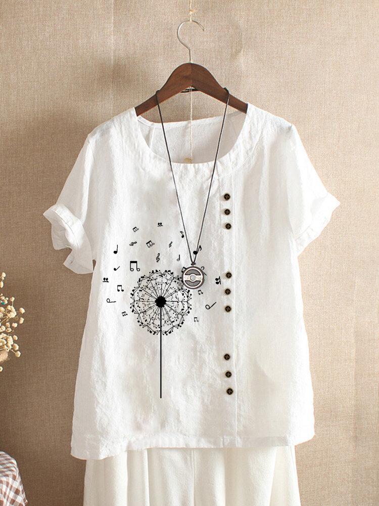 Printed Short Sleeve O-Neck Overhead Button T-shirt