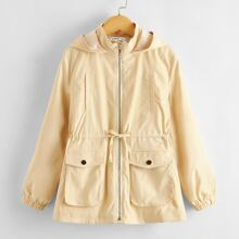 Girls Zip Up Drawstring Waist Pocket Patched Hooded Coat