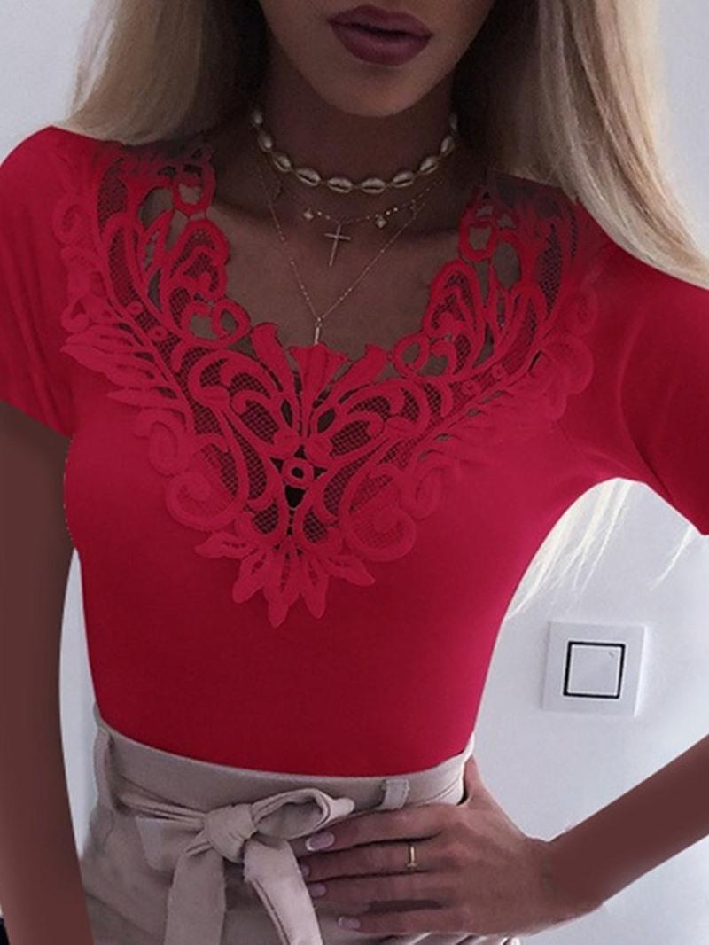 Ericdress Short Sleeve Plain Standard Women's Casual Slim T-Shirt