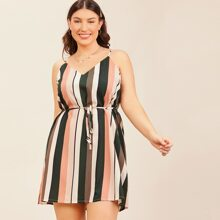 Plus Double V Neck Self Belted Striped Cami Dress