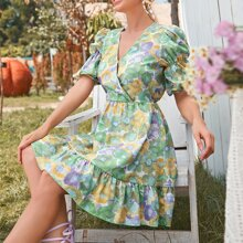 Allover Floral Puff Sleeve A-line Dress