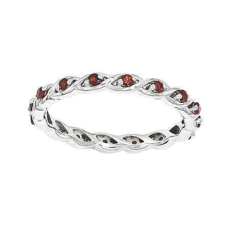 Personally Stackable Genuine Garnet Twisted Eternity Ring, 5 , No Color Family
