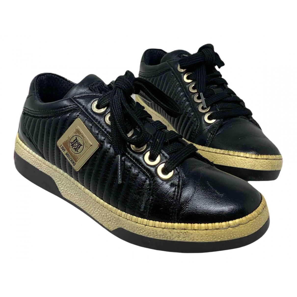 Moschino Love \N Sneakers in  Schwarz Leder