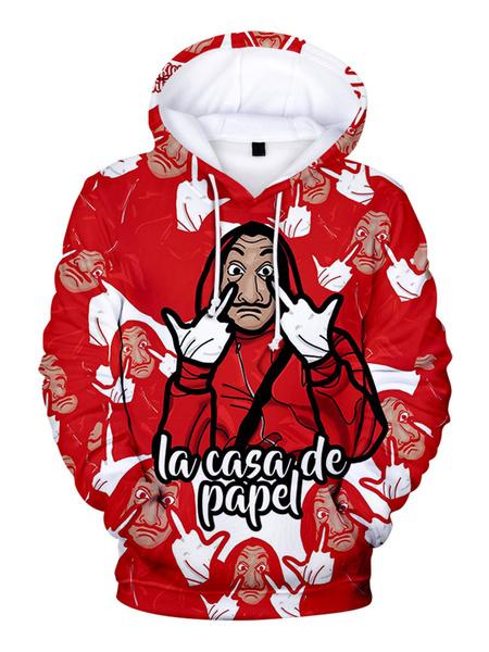 Milanoo Money Heist Hoodie Dali Red La Casa De Papel Print Hooded Sweatshirt