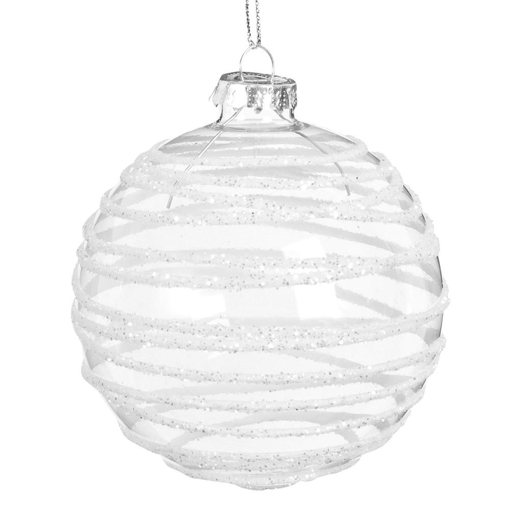 Weihnachtskugel aus weissem Glas mit Schneesturm-Effekt und Glitzer