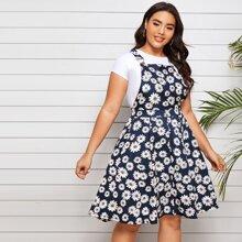 Plus Daisy Floral Pinafore Denim Dress