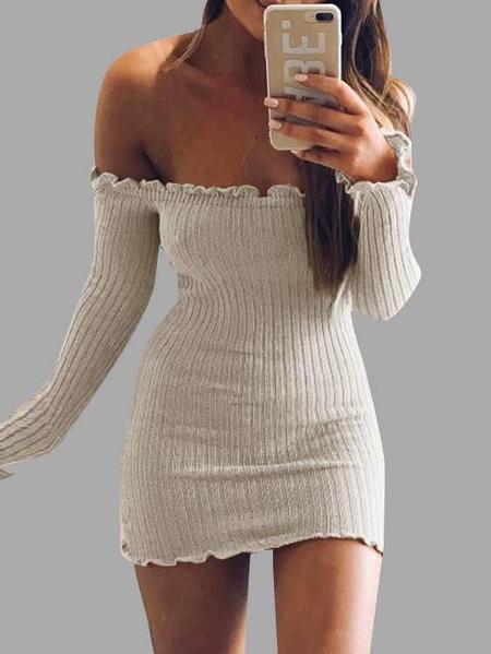 Yoins Beige Off-The-Shoulder Frill Hem Sweater Knit Dress
