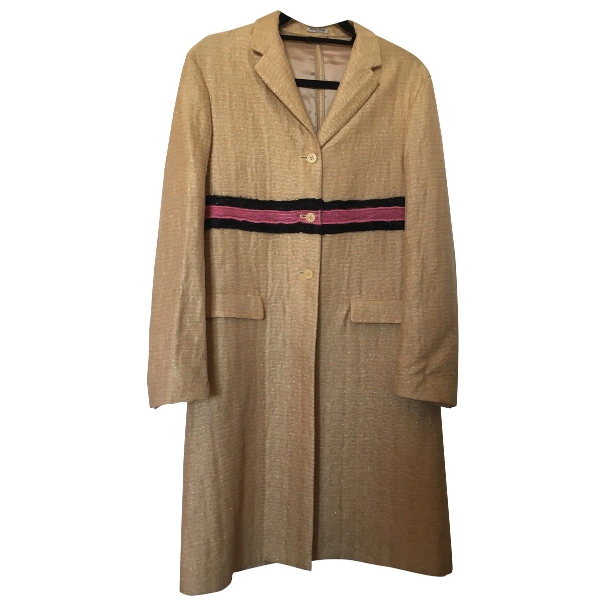 Miu Miu - Manteau   pour femme en soie - dore