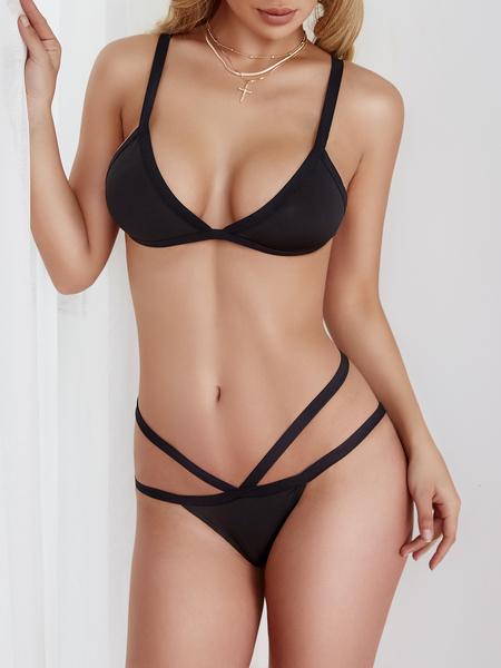 Yoins Black Sexy Sleeveless Ribbon Bodycon Swimsuit
