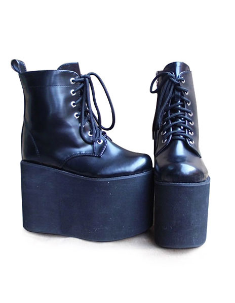 Milanoo Matte Black Lolita High Platform with Shoeslace Design