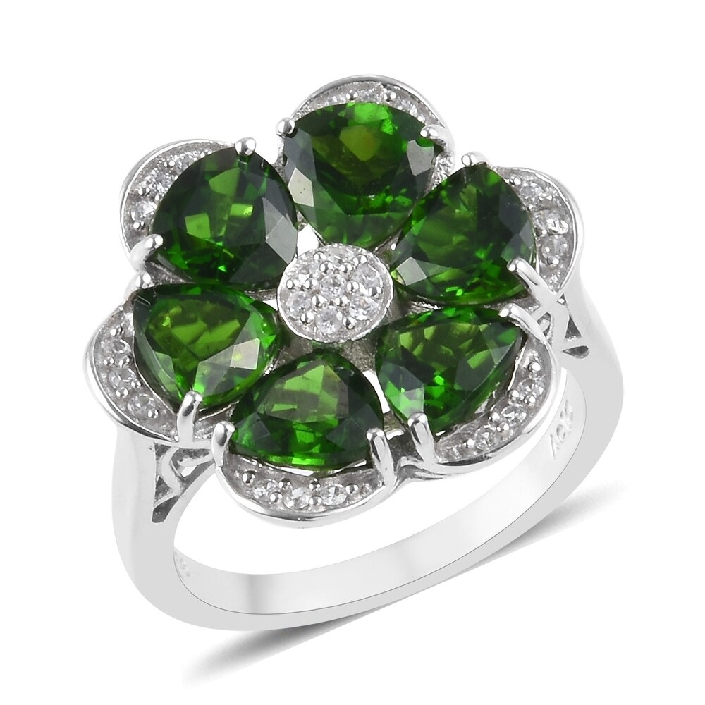 925 Silver Chrome Diopside Zircon Flower Ring  Ct 4.9 (Ring 8)