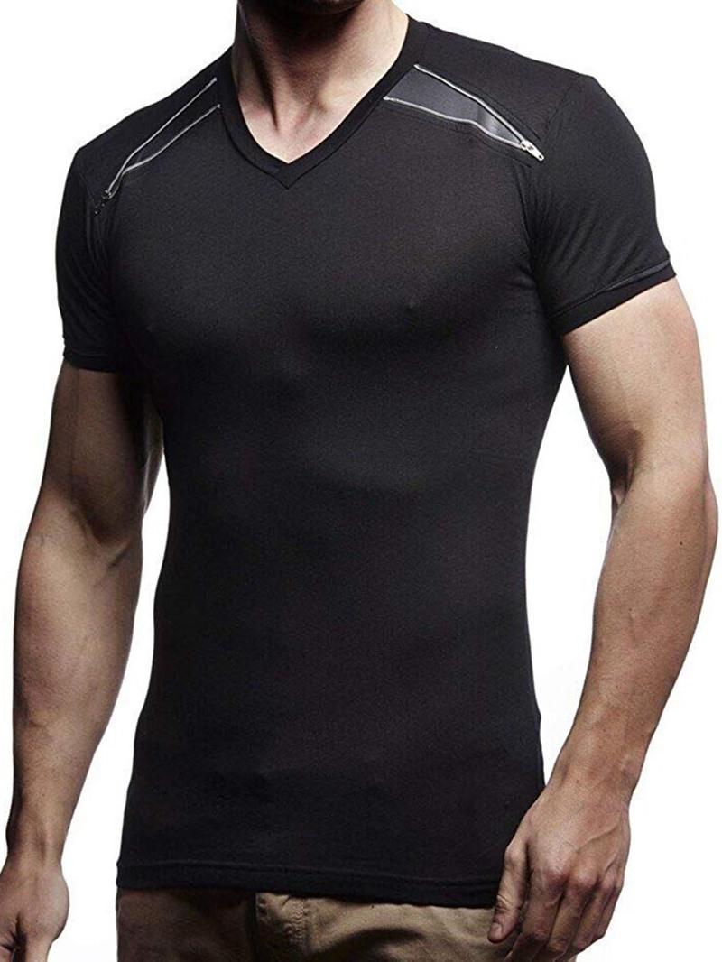 Ericdress Patchwork Plain Zipper Round Neck Mens Short Sleeve T-shirt
