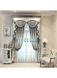 Luxurious and Elegant Light Gray Embroidered Blackout Sheer Curtains for Living Room Bedroom