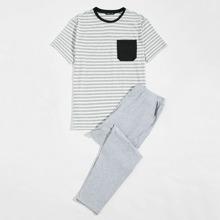 Men Pocket Front Striped Top & Pants PJ Set