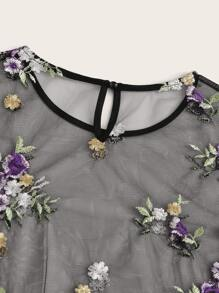 Ruffle Cuff Embroidered Mesh Top