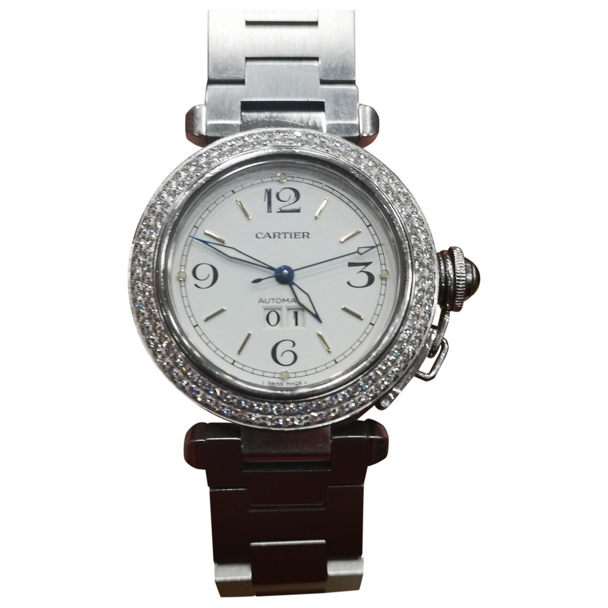 Cartier Pasha Uhr in  Weiss Stahl