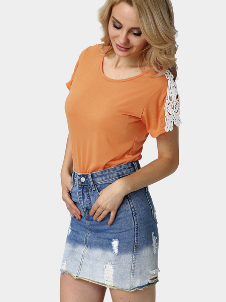 Yoins Orange Short Sleeve T-shirt with Crochet Detail