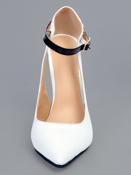 Milanoo White High Heels Pointed Toe Stiletto PU Color Block Cut Out Buckled Women's Ankle Strap Shoes