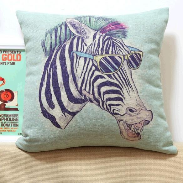 Lovely Cartoon Zebra Wearing Sunglasses Print Throw Pillow Case
