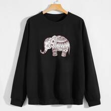 Sweatshirt mit Elefant Muster