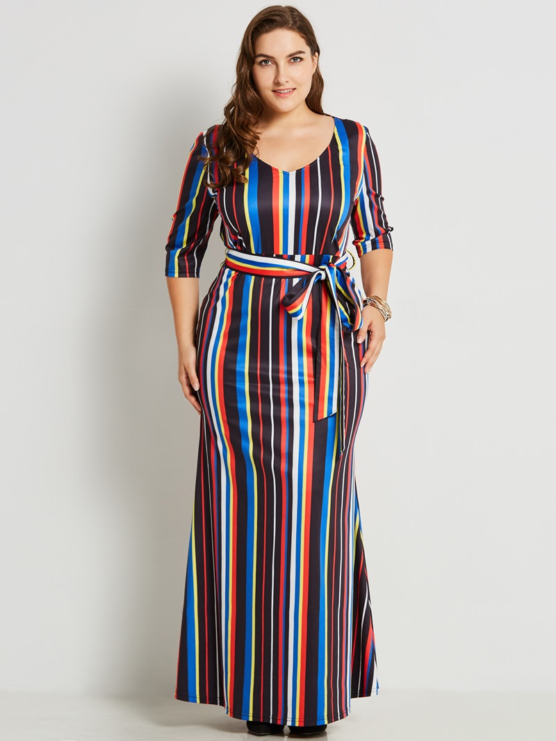 Ericdress Plus Size V-Neck Stripe Color Block Maxi Dress