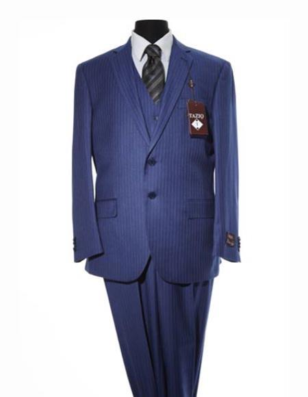 Mens  Design 2 Button Navy Blue Suit With Matching Vest