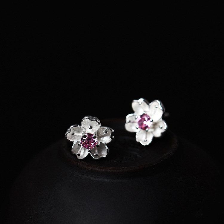 Lovely 925 Sterling Silver FLower Peach Blossom Stud Earrings Purple Zirconia Piercing Earrings