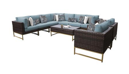 Barcelona BARCELONA-10a-GLD-SPA 10-Piece Patio Set 10a with 3 Corner Chairs  2 Club Chairs  4 Armless Chairs and 1 Coffee Table - Beige and Spa