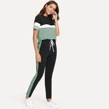 T-Shirt mit Farbblock und Hosen Set mit Kordelzug um die Taille